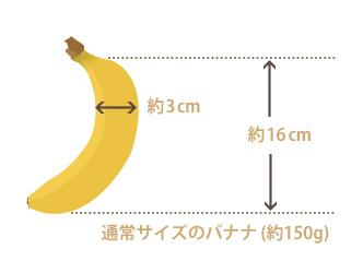 標準的なバナナの大きさを示した図